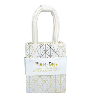 Gold Paper Pattern Gift Bags-Set of 8
