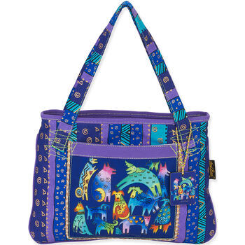 """Laurel Burch Tote- Medium Tote 15""""X11"""" Mythical Dogs"""