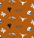 University of Texas Longhorns Fleece Fabric -Allover Orange