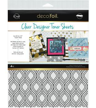Deco Foil 4 pk 8.5''x11'' Clear Designer Toner Sheets-Groovy