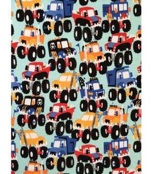 Doodles Juvenile Apparel Fabric 57''-Monster Truck Madness Interlock