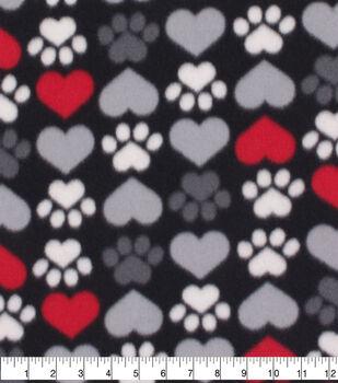 Valentine's Day Blizzard Fleece Fabric-Paw Prints & Hearts on Black