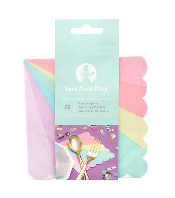 The Sweet Tooth Fairy Unicorn Party 12 pk Napkins-Rainbow