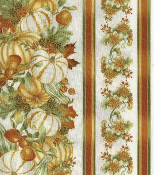 Harvest Cotton Fabric-Pumpkin Harvest on Cream