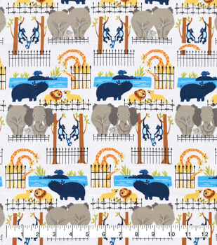 Snuggle Flannel Fabric-Zoo Animals