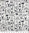Nursery Swaddle Cloth Fabric-Black & White Be Brave Map