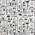 Nursery Swaddle Cloth Fabric-Black Be Brave & Map on White