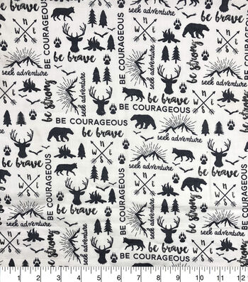 Nursery Cotton Fabric-Blac & White Be Brave Map