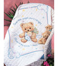 Cuddly Bear Stamped Cross Stitch Quilt Kit-34\u0022x43\u0022