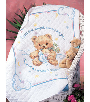 "Cuddly Bear Stamped Cross Stitch Quilt Kit-34""x43"""