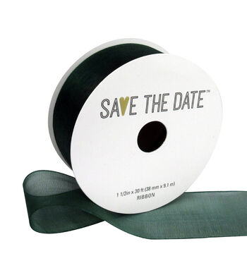 """Save the Date 1.5"""" x 30ft Ribbon-Hunter Sheer"""