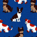 Snuggle Flannel Fabric-Happy Pup On Blue