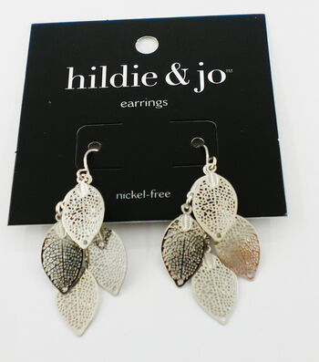 hildie & jo Leaves Dangle Earrings-Silver Shades