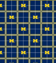 "University of Michigan Wolverines Flannel Fabric 42""-Plaid, , hi-res"