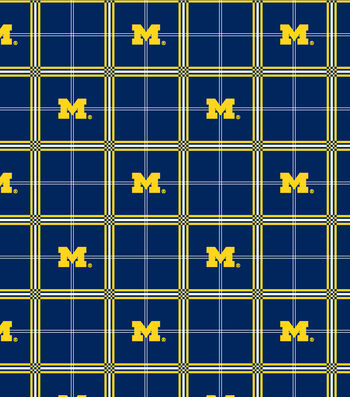 University of Michigan Wolverines Flannel Fabric -Plaid