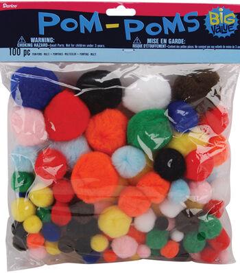 Pom Poms Assorted Big Value 100/Pkg-Everyday