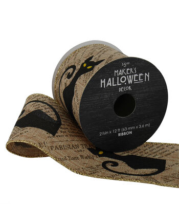 Maker's Halloween Ribbon 2.5''x12'-Black Cats on Newsprint