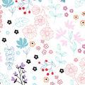Nursery Cotton Fabric-Bear White Wildflowers