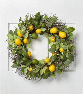 "Fresh Picked Summer 23"" Lemon, Berry & Twig Wreath-Yellow & Green"