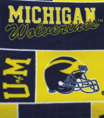 University of Michigan Wolverines Fleece Fabric -Block