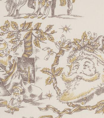 "Christmas Cotton Fabric 45""-Metallic Toile De Noel"