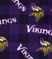 Minnesota Vikings Fleece Fabric -Buffalo Plaid, , hi-res