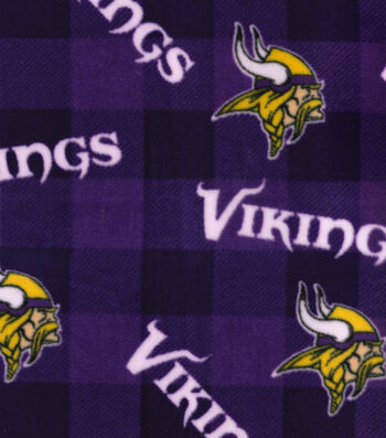 Minnesota Vikings Fleece Fabric -Buffalo Plaid