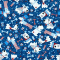 Patriotic Cotton Fabric -Puppy