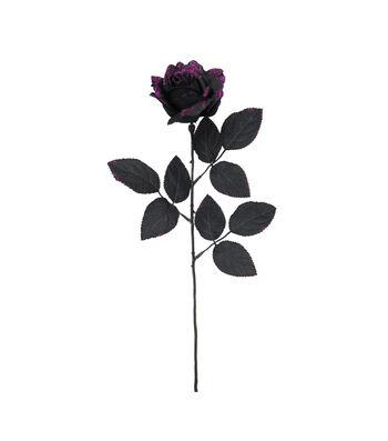 Maker's Halloween Glitter Rose Stem-Purple