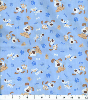 Novelty Cotton Fabric -Dog Bark!