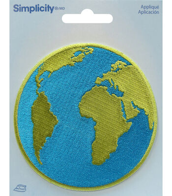 Simplicity Embroidered Iron-On Applique-Globe