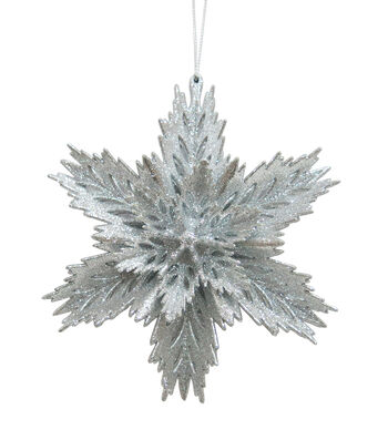 Maker's Holiday Christmas Arctic Frost Glitter Snowflake Ornament-Silver