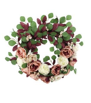 Blooming Autumn Rose, Berry & Peony Wreath-Blush & Cream