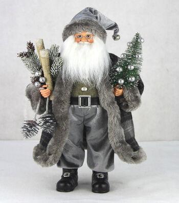 Maker's Holiday Christmas 17.5'' Santa with Tree-Gray