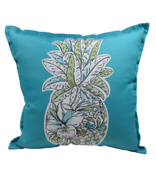 "Patio Oasis 17""x17"" Teal Pineapple Outdoor Pillow"