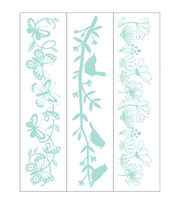 Park Lane 3 pk 1.4''x5.75'' Border Embossing Folders-Garden, , hi-res