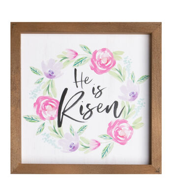 Easter Pinewood Framed Wall Decor-He is Risen & Wreath