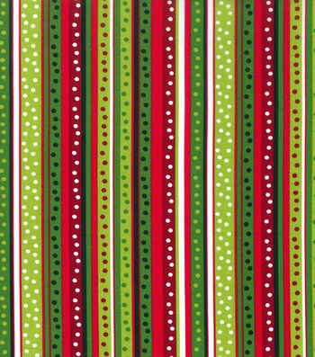 Christmas Cotton Fabric -Dot Stripe