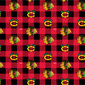 Chicago Blackhawks Fleece Fabric-Buffalo Plaid
