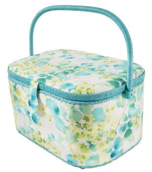 Extra Large Oval Sewing Basket-Cream & Teal Leaf Vines