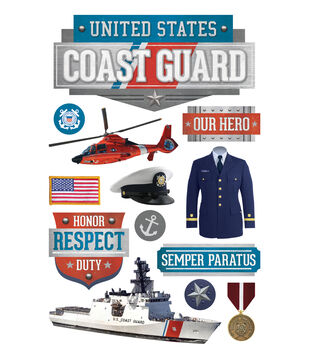 Paper House 4.5''x8.5'' 3D Stickers-United States Coast Guard