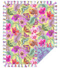 No Sew Fleece Throw 72\u0022-Sketched Floral Butterfly