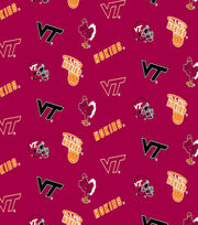 Virginia Tech Hokies Cotton Fabric -Red All Over, , hi-res