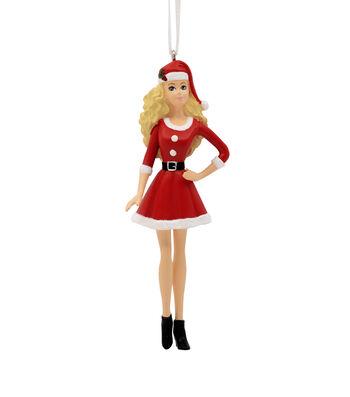 Hallmark Ornament-Resin Figural Barbie In Santa Dress