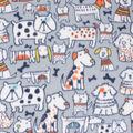 Blizzard Fleece Fabric-Sketched Pups & Friends