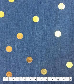Demim Dark Wash Cotton Fabric-Gold Foil Dot