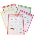 Reusable Dry Erase Pockets 9\u0022X12\u0022-Assorted Neon Colors