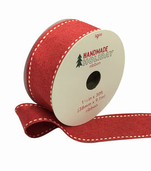 Handmade Holiday Christmas Ribbon 1.5''x30'-Red with Ivory Stitch Edge