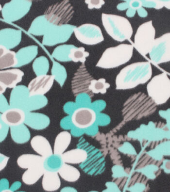 "Blizzard Fleece Fabric 59""-Ice Green Black Floral"