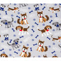 Super Snuggle Flannel Fabric-Woof Arf Dog on Gray